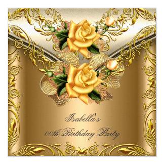 Elegant Elite Bronze Gold Rose Birthday Party 2 Card