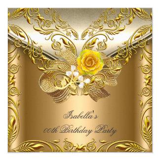 Elegant Elite Bronze Gold Rose Birthday Party Card