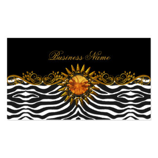 Elegant Elite Classy Black Gold Zebra Animal Business Card
