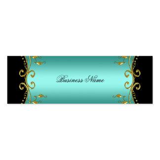 Elegant Elite Classy Teal Blue Black Gold Mini Business Card