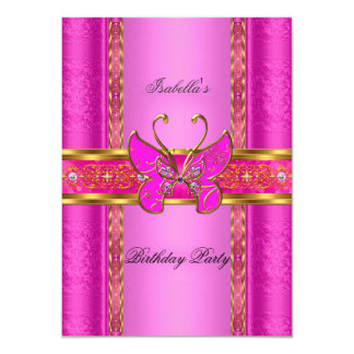 Elegant Elite Hot Pink Gold Butterfly Party Card