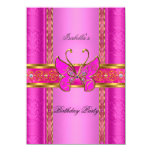 Elegant Elite Hot Pink Gold Butterfly Party 4.5x6.25 Paper Invitation Card
