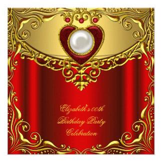Elegant Elite Regal Red Pearl Gold Birthday Party Invite