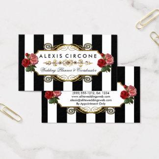 Elegant Elite Stripes |Gold Floral Wedding Planner Business Card