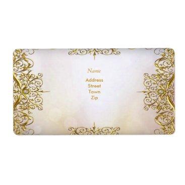 Professional Business Elegant Elite White Gold Wedding Gold Beige Label