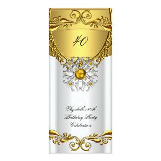 "Elegant Elite White Jewel Gold Birthday Party 4"" X 9.25"" Invitation Card"