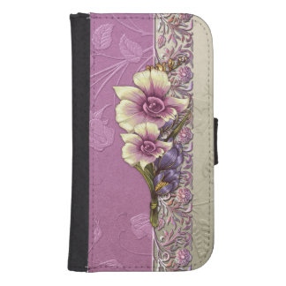 Elegant Embossed Lilac Damask Phone Wallet