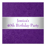 Elegant Embossed Purple Paisley White Party Card