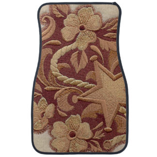 Elegant Embroidery Flowers and Star Car Mat