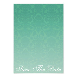 Elegant Emerald Damask Save The Date Announcement
