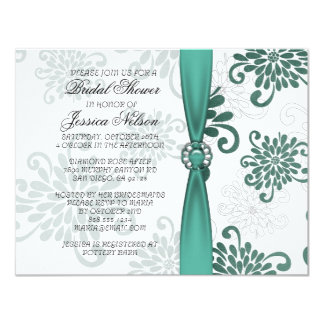 Elegant Emerald Floral Damask Ribbon Bridal Invite