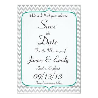 Elegant Emerald & Gray Chevron Save The Date Card