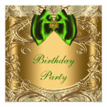 Elegant Emerald Green and Gold Birthday Party Custom Announcement