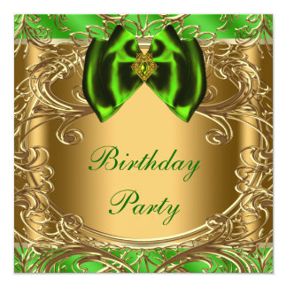 "Elegant Emerald Green and Gold Birthday Party 5.25"" Square Invitation Card"