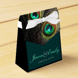 Elegant Emerald Green and Gold Peacock Wedding Favor Box