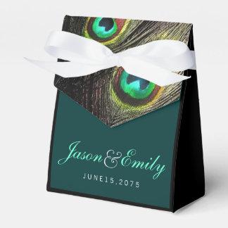 Elegant Emerald Green and Gold Peacock Wedding Favor Box