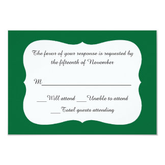 Elegant Emerald Green and White Response Card