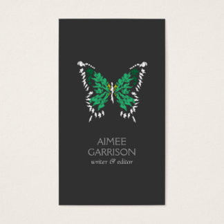 ELEGANT EMERALD GREEN BUTTERFLY LOGO on DARK GRAY Business Card
