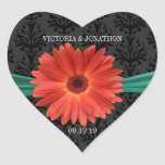 Elegant Emerald Green Coral Gerber Daisy Wedding Round Stickers