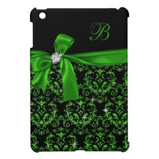 Elegant Emerald Green Damask Diamond Bow Monogram iPad Mini Case