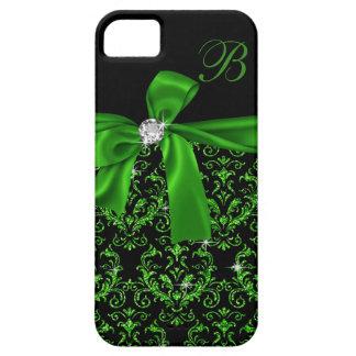 Elegant Emerald Green Damask Diamond Bow Monogram iPhone SE/5/5s Case