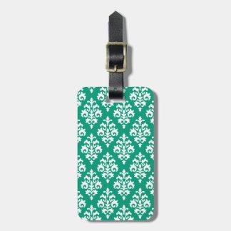 Elegant Emerald Green Damask Luggage Tag