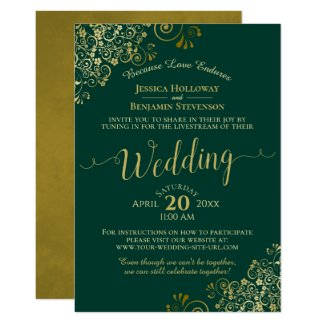 Elegant Emerald Green & Gold Wedding Livestream Invitation