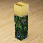"""Elegant Emerald Green Royal Blue and Gold Peacock Wine Gift Box<br><div class=""""desc"""">Elegant emerald green and royal blue peacock feather wine boxes. You can customize this beautiful peacock feather wine box by adding text in the font style of your choice.</div>"""