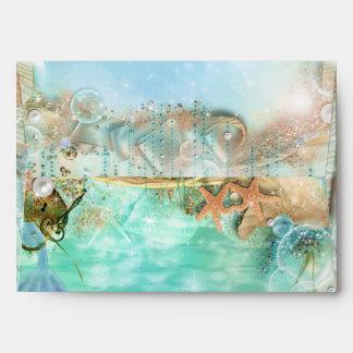 Elegant Enchanted  Sea Beach Invitation Envelopes