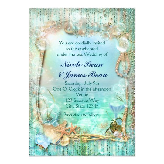Elegant Enchanted Under The Sea Beach Invitations