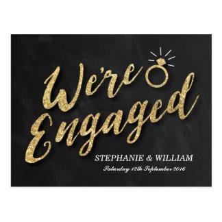 ELEGANT ENGAGEMENT INVITATION   GOLD SPARKLE POSTCARD