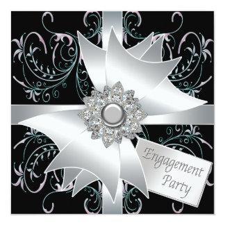 """Elegant Engagement Party Invitations 5.25"""" Square Invitation Card"""