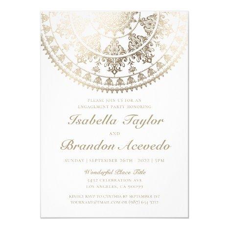 Elegant Engagement Party Invitations Gold Foil