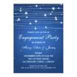 "Elegant Engagement Party Sparkling Lines Sapphire 5"" X 7"" Invitation Card"
