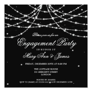 Elegant Engagement Party Sparkling String Black 5.25x5.25 Square Paper Invitation Card