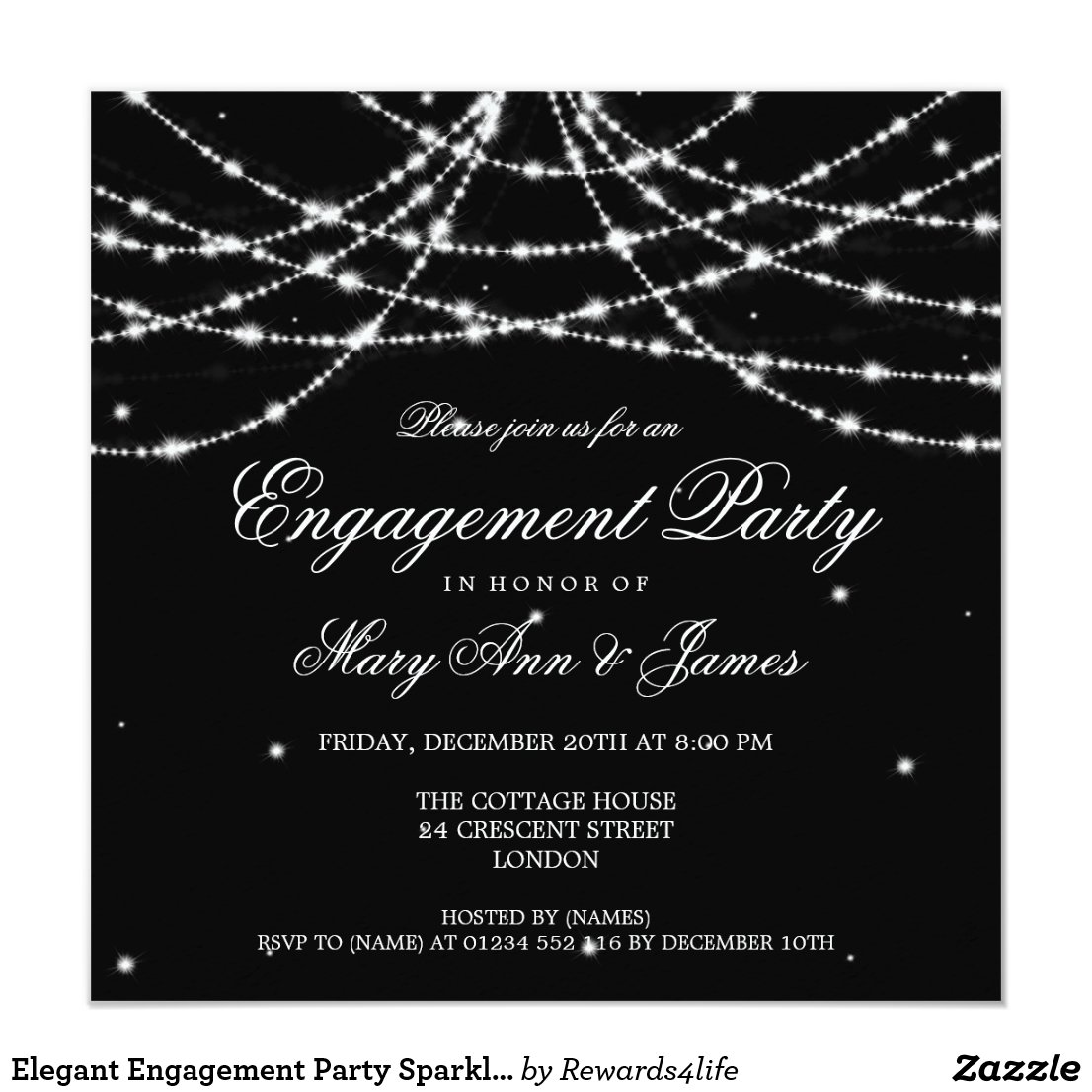 Elegant Engagement Party Sparkling String Black Invitation