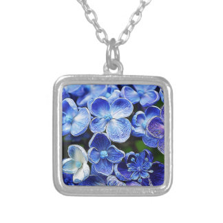 elegant english country garden blue purple lilacs silver plated necklace