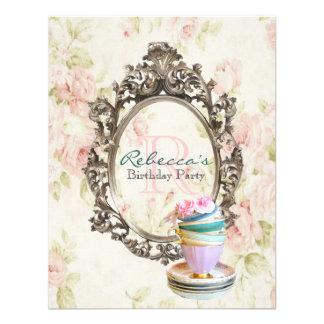 elegant english floral vintage birthday party announcement