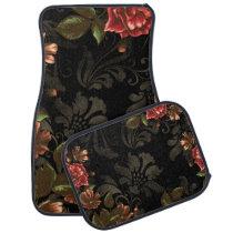 Elegant Engraved Black Floral Car Floor Mat