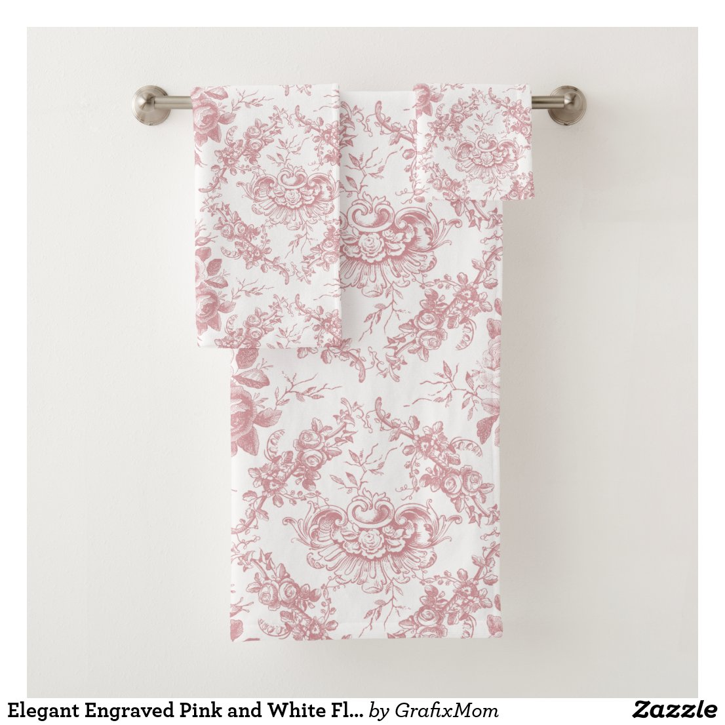 Elegant Engraved Pink and White Floral Toile Bath Towel Set