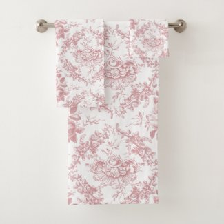 Elegant Engraved Pink and White Floral Toile Bath Towel Set