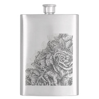 Elegant Engraved Roses Hip Flask