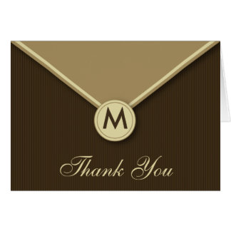Elegant Envelope Monogram Mocha Thank You Card