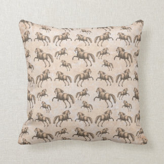 Elegant Equestrian's Spanish Horse Vintage Pattern Throw Pillow