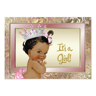 Elegant Ethnic Princess Pink and Gold Baby Shower 5x7 Paper Invitation Card