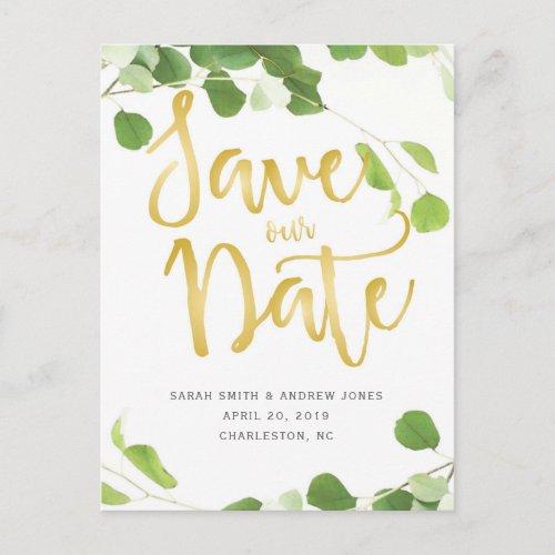 Elegant Eucalyptus and Gold Script Save the Date Announcement Postcard