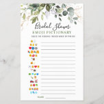 """Elegant Eucalyptus Double-Sided Bridal Shower Game<br><div class=""""desc"""">Double sided card: First Side - Bridal Shower Emoji Pictionary Second Side - Find The Guest. Enjoy your bridal shower with these funny games. Personalize with the bride to be's name and date of shower. For further customization, please click the """"customize further"""" link. If you need help, contact me please....</div>"""