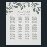 "Elegant Eucalyptus Garden Wedding Seating Chart<br><div class=""desc"">Beautiful, with elegant simplicity and a modern touch. A lovely illustration of trendy seeded eucalyptus branches are shaded in soft gray-green tones for a neutral color palette that coordinates beautifully with so many designs. Original illustration of floral blooms adorn the top of this wedding seating chart poster to be displayed...</div>"
