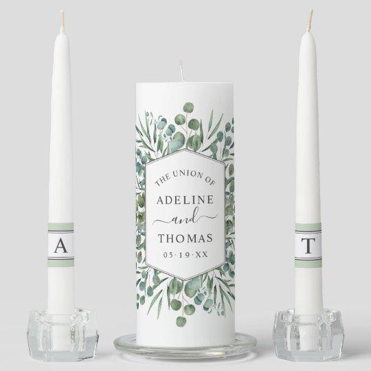 Elegant Eucalyptus Geometric Greenery Wedding Unity Candle Set