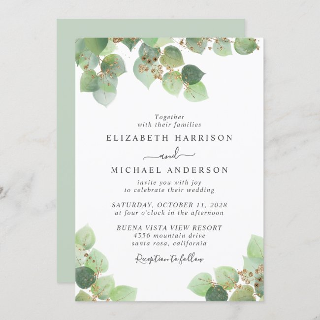 Elegant Eucalyptus Gold Watercolor Wedding Invitation